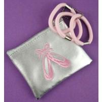 Torbica za kovance ali male pripomočke z motivom baletnih čeveljcev z elastikami