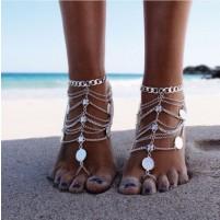 Anklet Chain Boho 2 srebrna