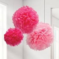 Pom pom ROZA 3× različne velikosti in barve 40cm